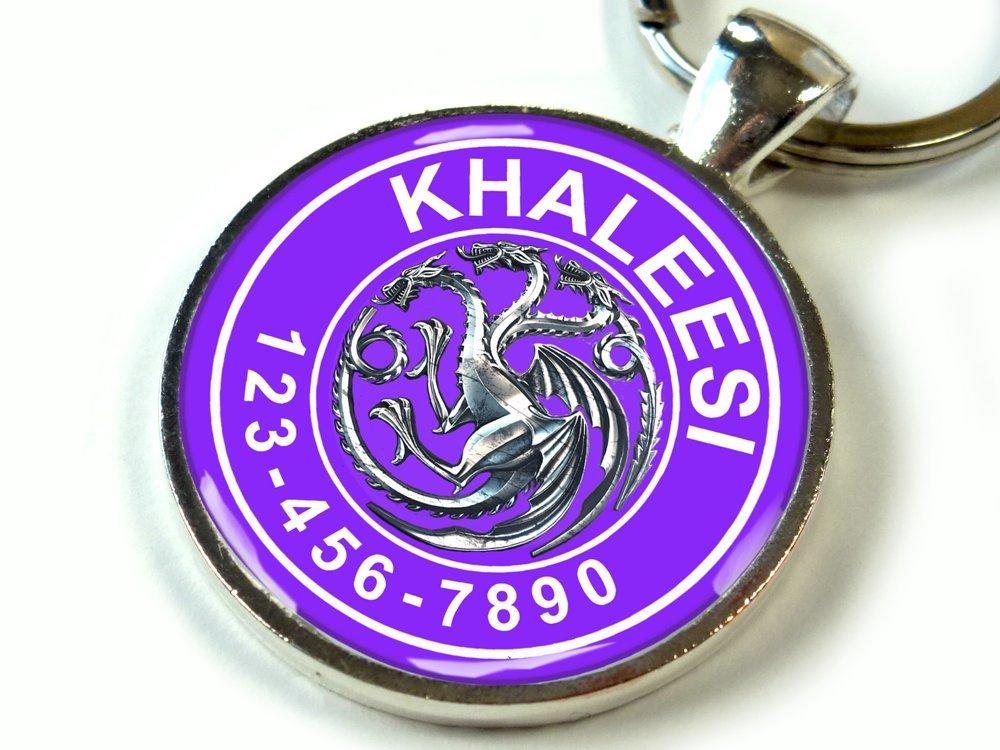 Custom pet ID Tag dog cat pet tag Game of Thrones Purple Targaryen Khaleesi SGL (Small 1'')