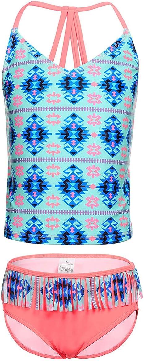 Amazon.com: LEINASEN Trajes de baño de dos piezas para niñas ...
