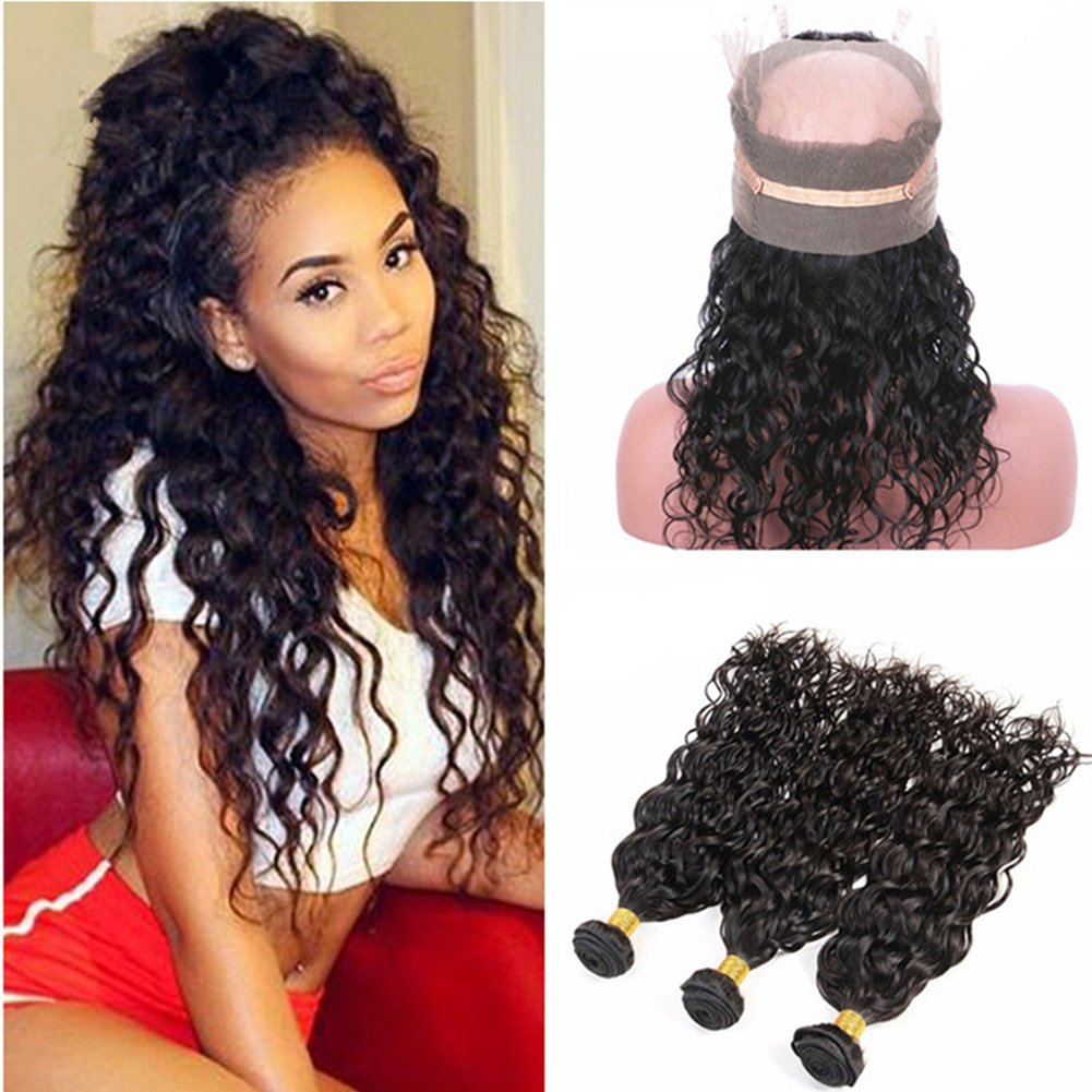 Ruma Hair Wet And Wavy 360 Lace Band Frontal Closure 22.5x4x2'' With Bundles Brazilian Water Wave Virgin Human Hair Weaves With Pre Plucked 360 Full Lace Frontals (16+16 16 16)