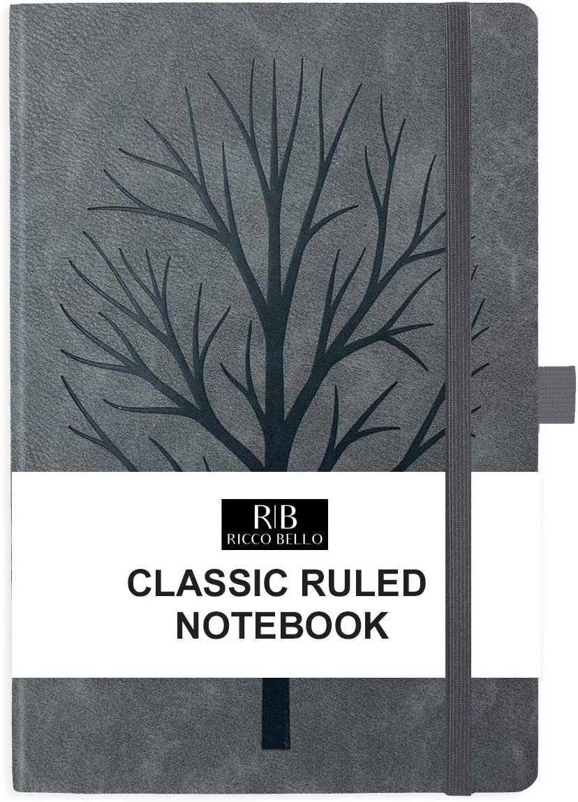 Pen Holder Art Tree 5.7 x 8.4 inches Elastic Band Closure Storage Pocket Bookmark RICCO BELLO Classic College Ruled Hardcover Journal Notebook Vegan Leather