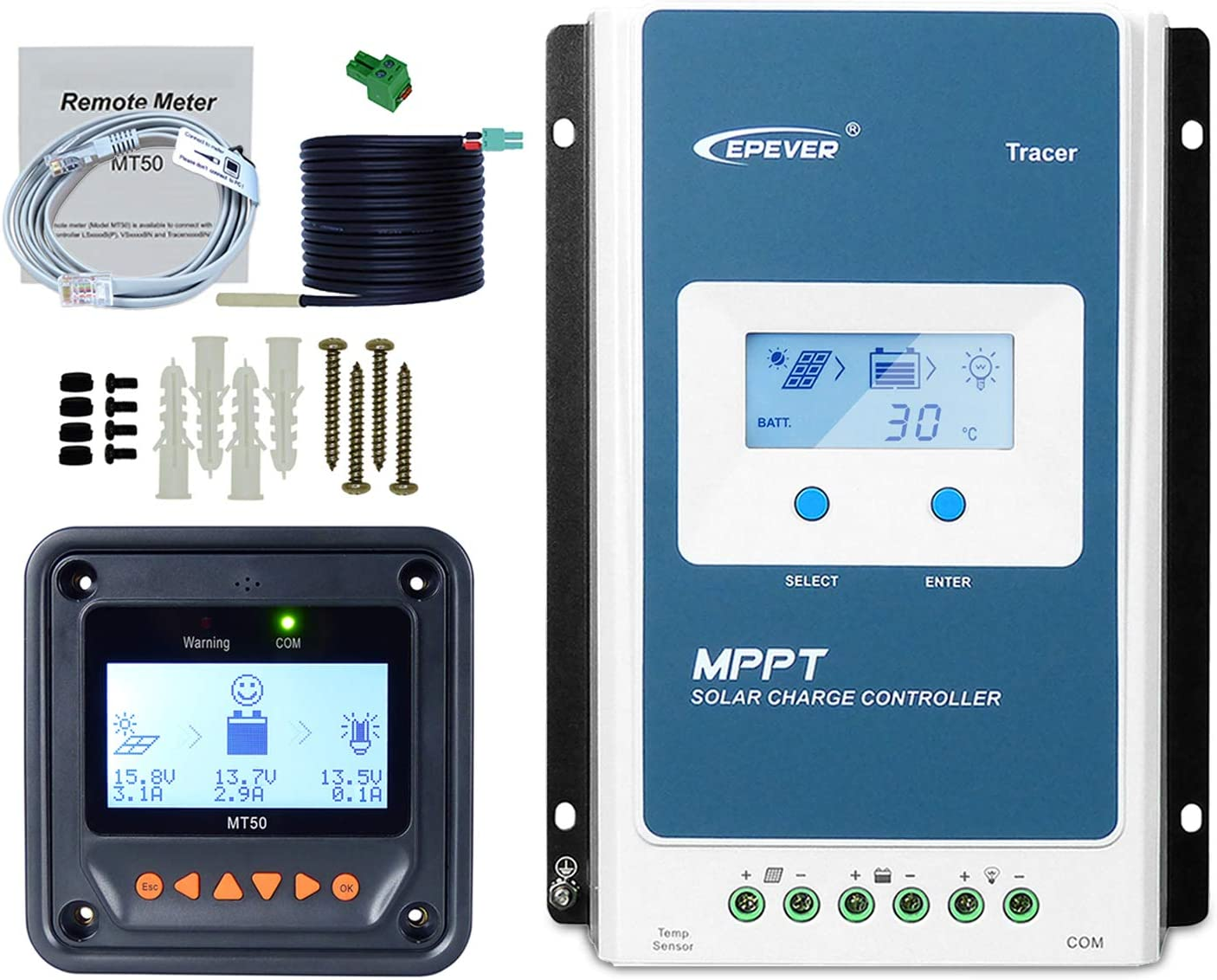 20A+MT50+RTS Remote Meter MT50+Temp Cable Tracer2210AN Solar Charge with LCD Display EPEVER MPPT Charge Controller 20A
