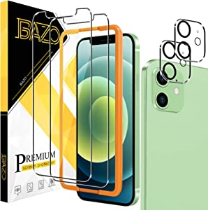 [2+2 Pack] BAZO Tempered Glass Screen Protector and Camera Lens Protector Compatible for iPhone 12 (6.1 inch), [Easy Installation Frame] [Anti-Scratch] [Bubble Free] [Case Friendly] 9H Hardness HD Clear Film