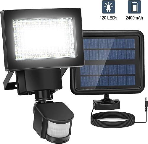 Motion Sensor Light Outdoor Solar Powered, 120 LED Security Lights Motion Outdoor 3000 LM, Solar Flood Lights 2400 Mah, Wide Angle Illumination, Waterproof, 2020 Upgraded