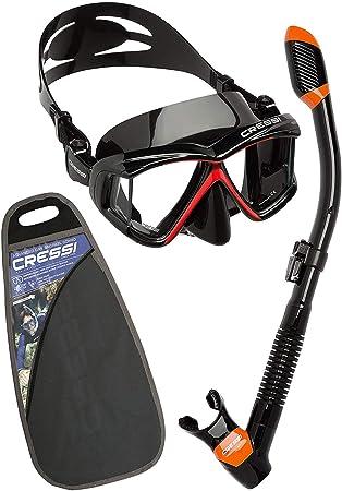 Cressi Pano4&Dry Kits Máscara Tubo, Unisex Adulto, Negro/Rojo ...