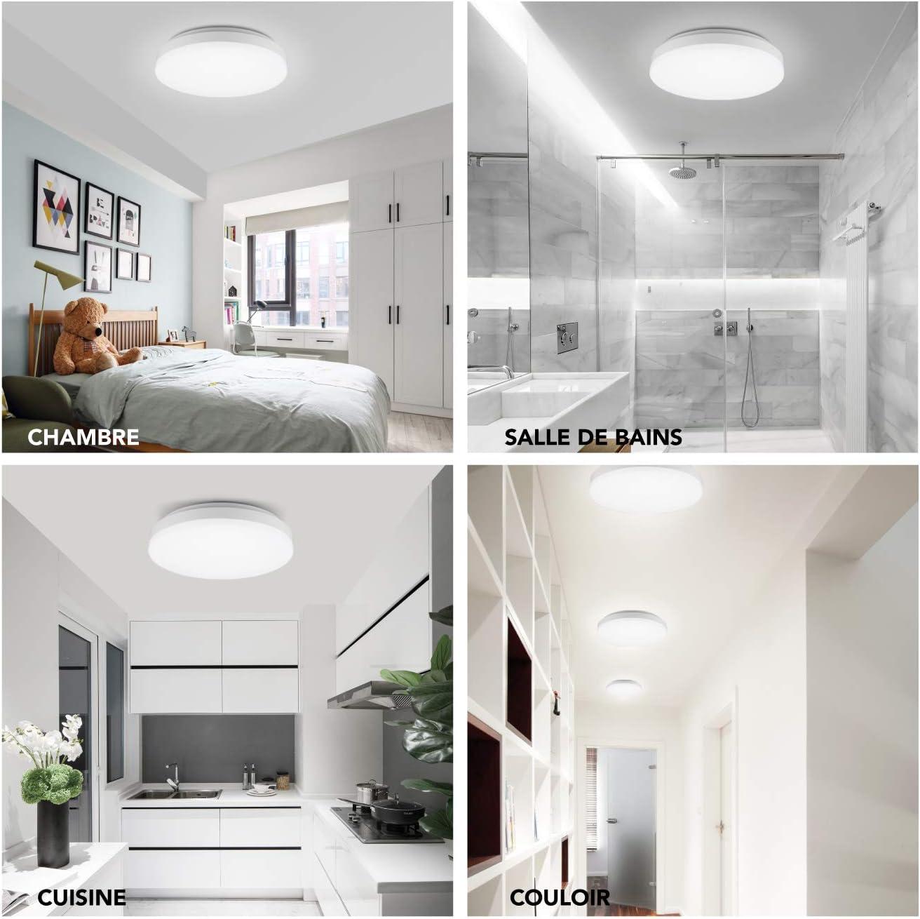 luminaire plafond 5000K Blanc Froid 1200lm Applicable /à chambre,cuisine,salon,balcon,couloir plafonnier ip44 salle de bain carr/é SEEDIQ/® Plafonnier LED 15W Classe /énerg/étique A+