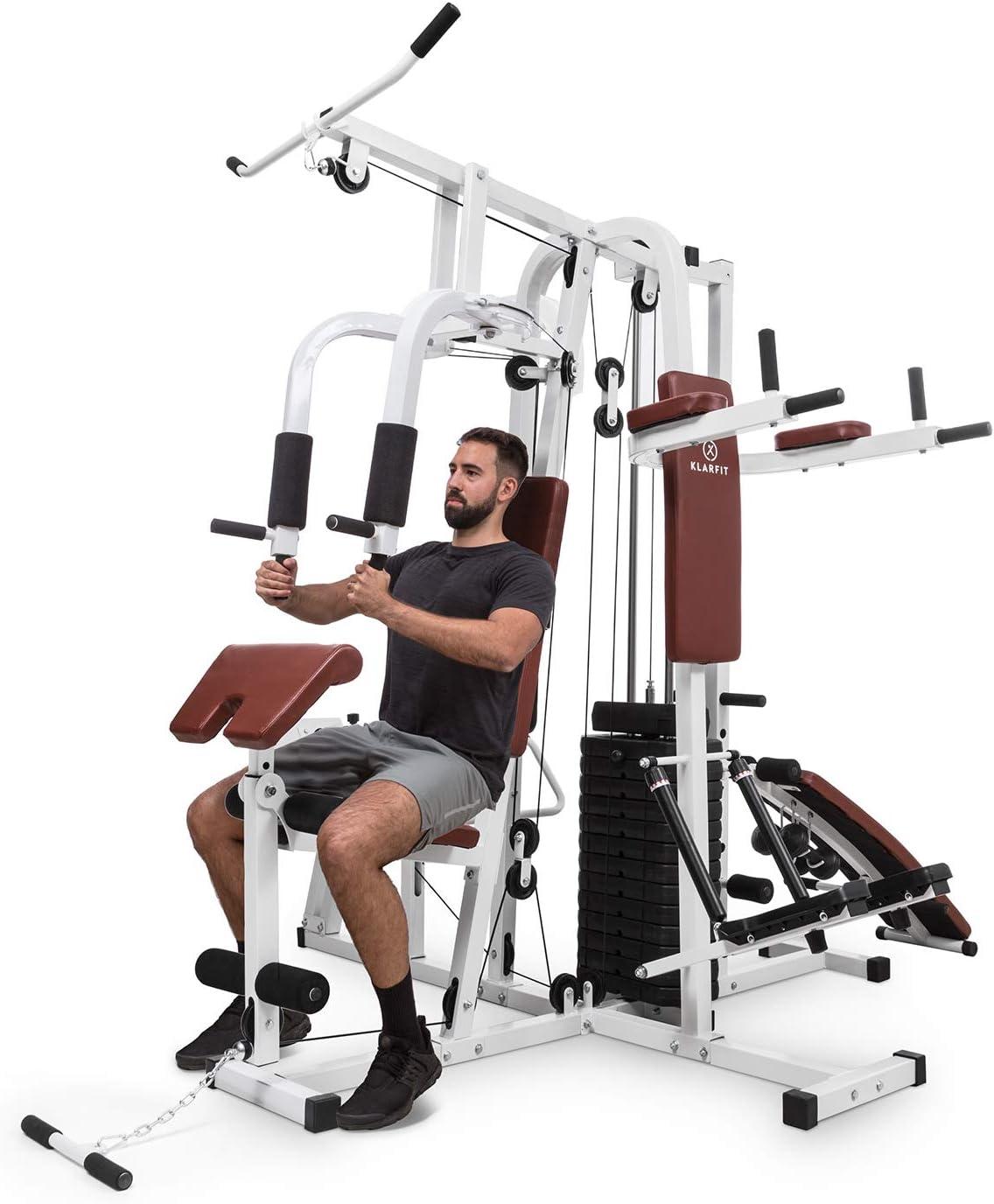 Klarfit Ultimate Gym 9000 estación de Entrenamiento: paralelas, Banco declinado, Escalera, Curl, Prensa para Pierna, contractora y jalones (más de 100 Ejercicios para 2 Personas, MAX. 150kg) Blanco: Amazon.es: Deportes y aire libre