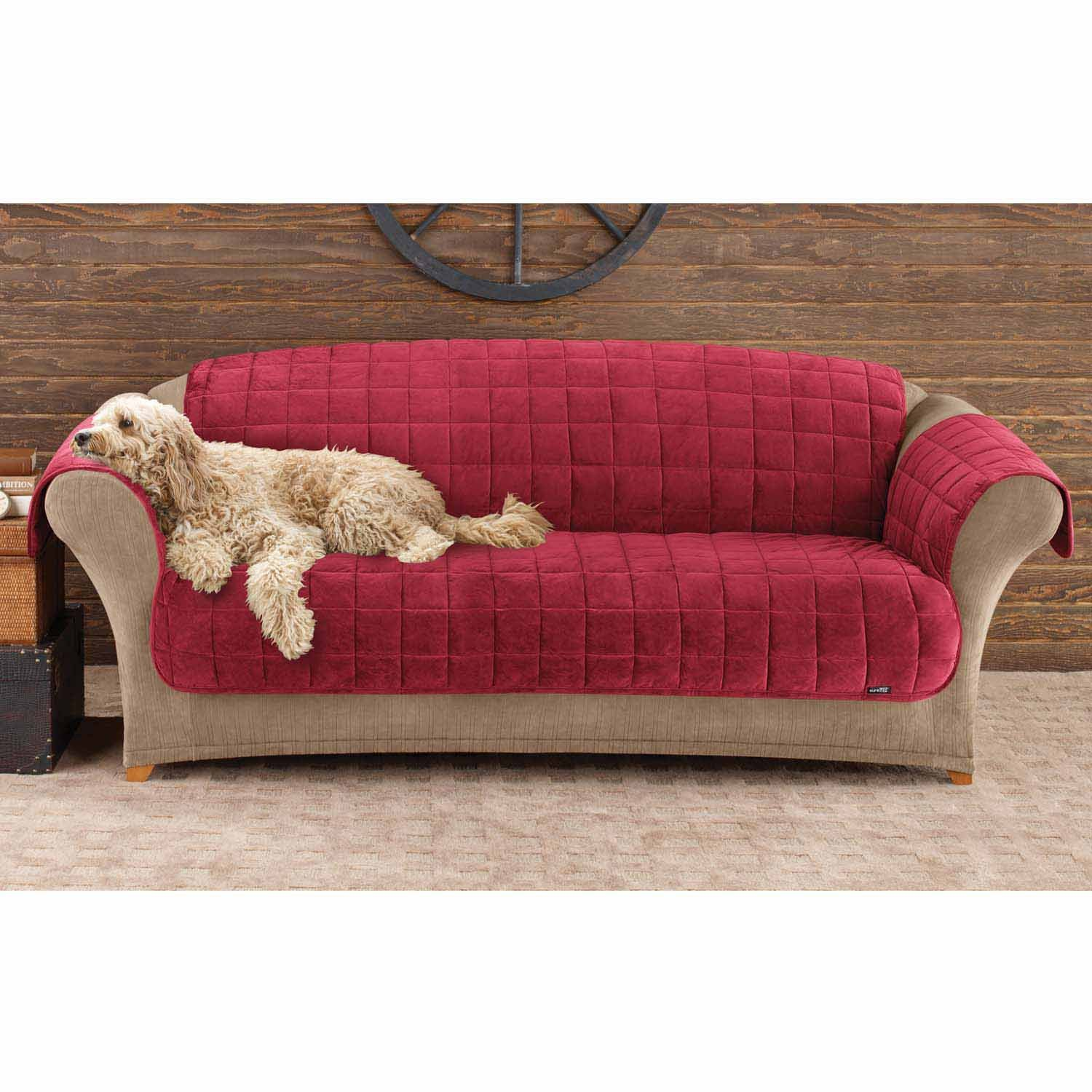 Amazon Sure Fit Deluxe Pet Cover Sofa Slipcover Burgundy