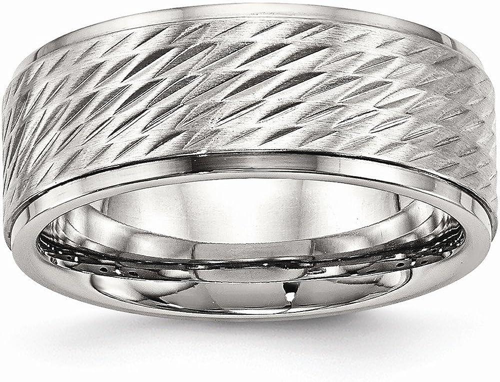 Stainless Steel Wedding Band Ring Ridged Polished Brushed 9 mm Brushed Center Ridged Edge Diamond Cut Ring