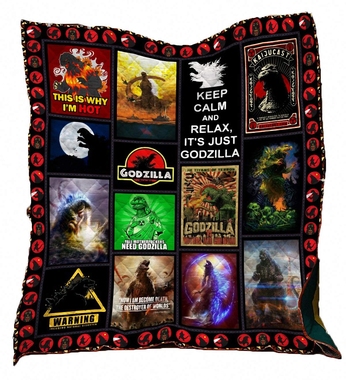 owho Summer 3D Godzilla Monste Quilt Blanket for Kids Adults Bedding Throw Soft Warm Thin Blanket with Cotton Quilt King Size