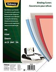Fellowes - Portadas para encuadernado (PVC, A4, 180 micras, 25 unidades), transparente lustroso