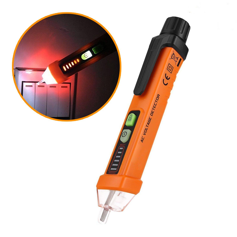 Spannungsprüfer Berührungslose – VIDEN Stromprüfer Durchgangsprüfer mit LED Taschenlampe Optische Anzeige, AC 12-1000V Alarmmodus, Multimeter Digital Spannungstester, Safe Spannung Messgerät