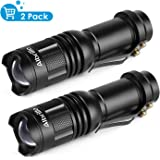 Albrillo Bright Tactical Flashlight 300lm, Zoomable Function Mini Flashlights, 3 Mode, Pack of 2