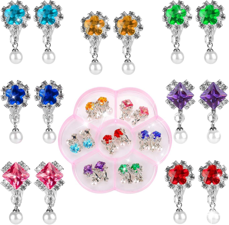 Hifot 7 Paare Clip Mädchen Ohrringe Prinzessin Klipp Ohrring Set Dress up Prinzessin Schmuck Zubehör für Mädchen Kinder Kleinkind