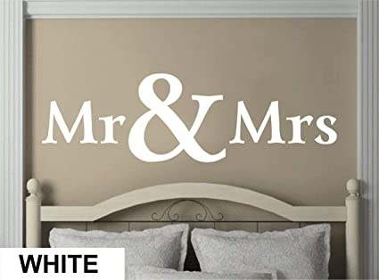 Amazon.com: Amazing Vinyl Bedroom Wall Decal - Mr and Mrs Letters ...