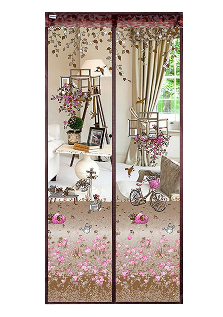 Floral Magnetic Insect Door Screen High Density Fly Bug Mosquito Mesh Curtain Top-To-Bottom Let Fresh Air In Automatically Shut Door Curtain, 90x210 cm Moonlove