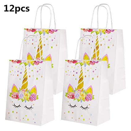 Amazon 12 Pack Unicorn Party Gift Bags Gold Goodie Paper For Kids Birthday Toys Games