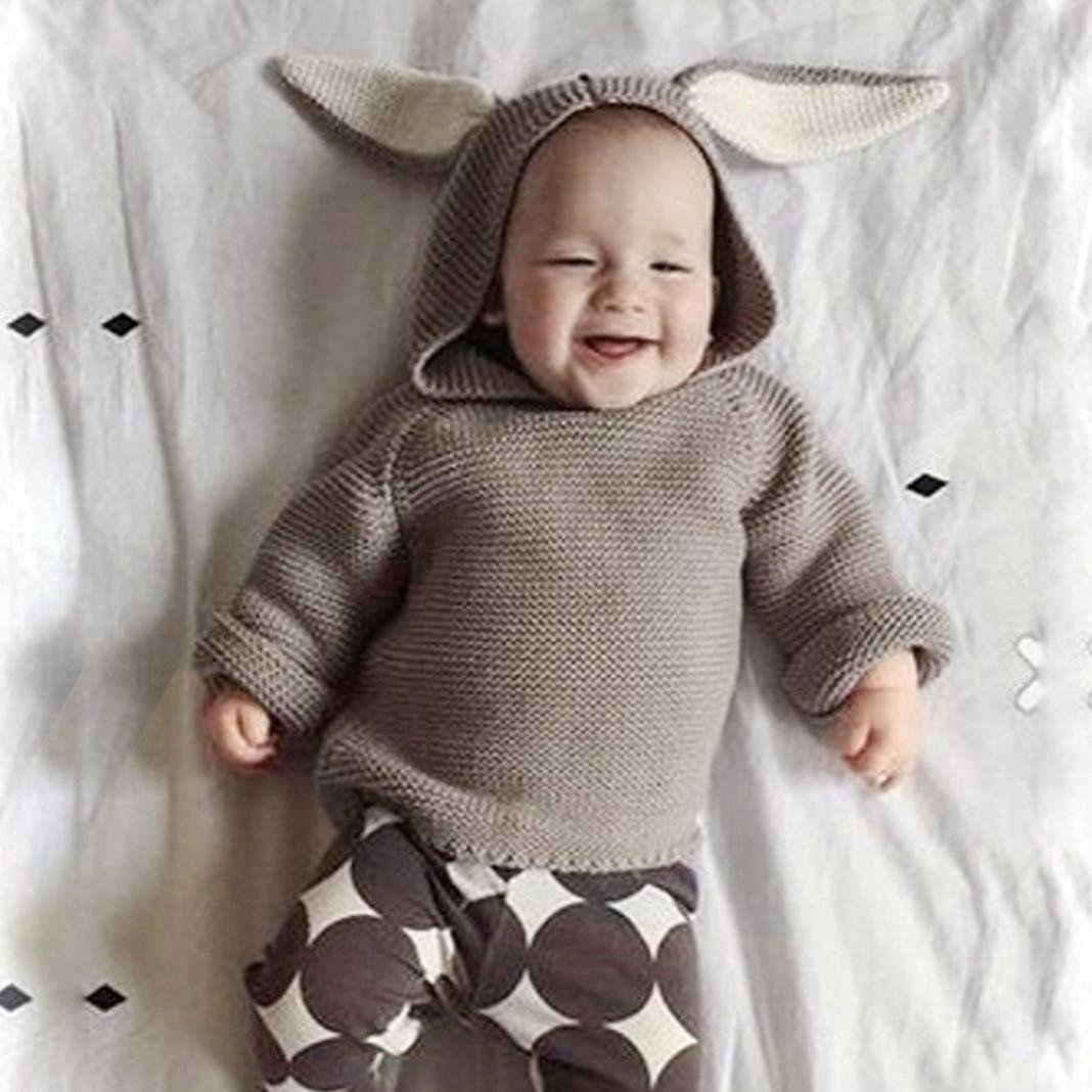 iumei Kid Baby Boys Girls Warm Bunny Hoodie Sweater Unisex Toddler Pullover Sweatshirt