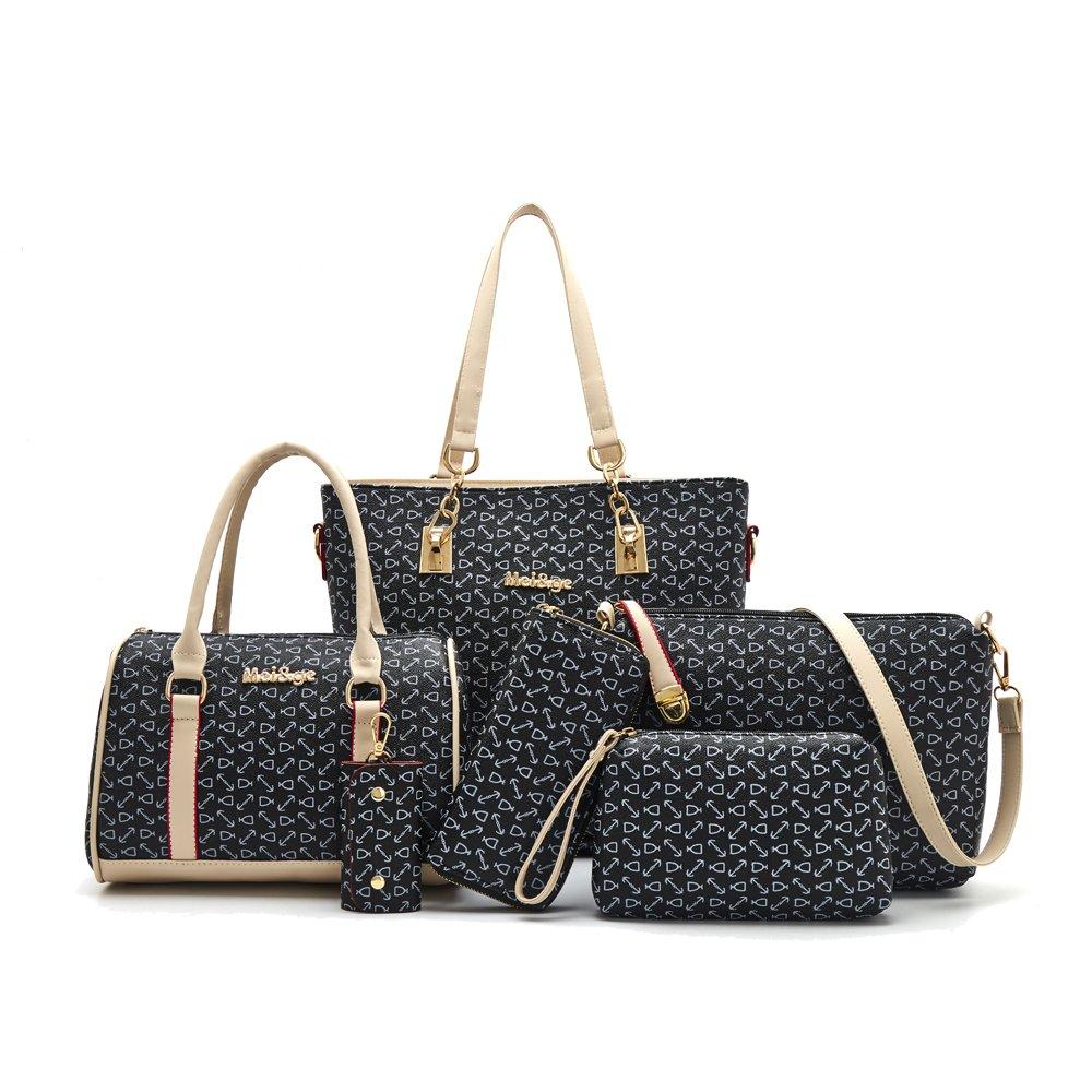 H&X Women Totes 6 Pcs Shoulder Bags Top-Handle Handbag Purse Set (black)