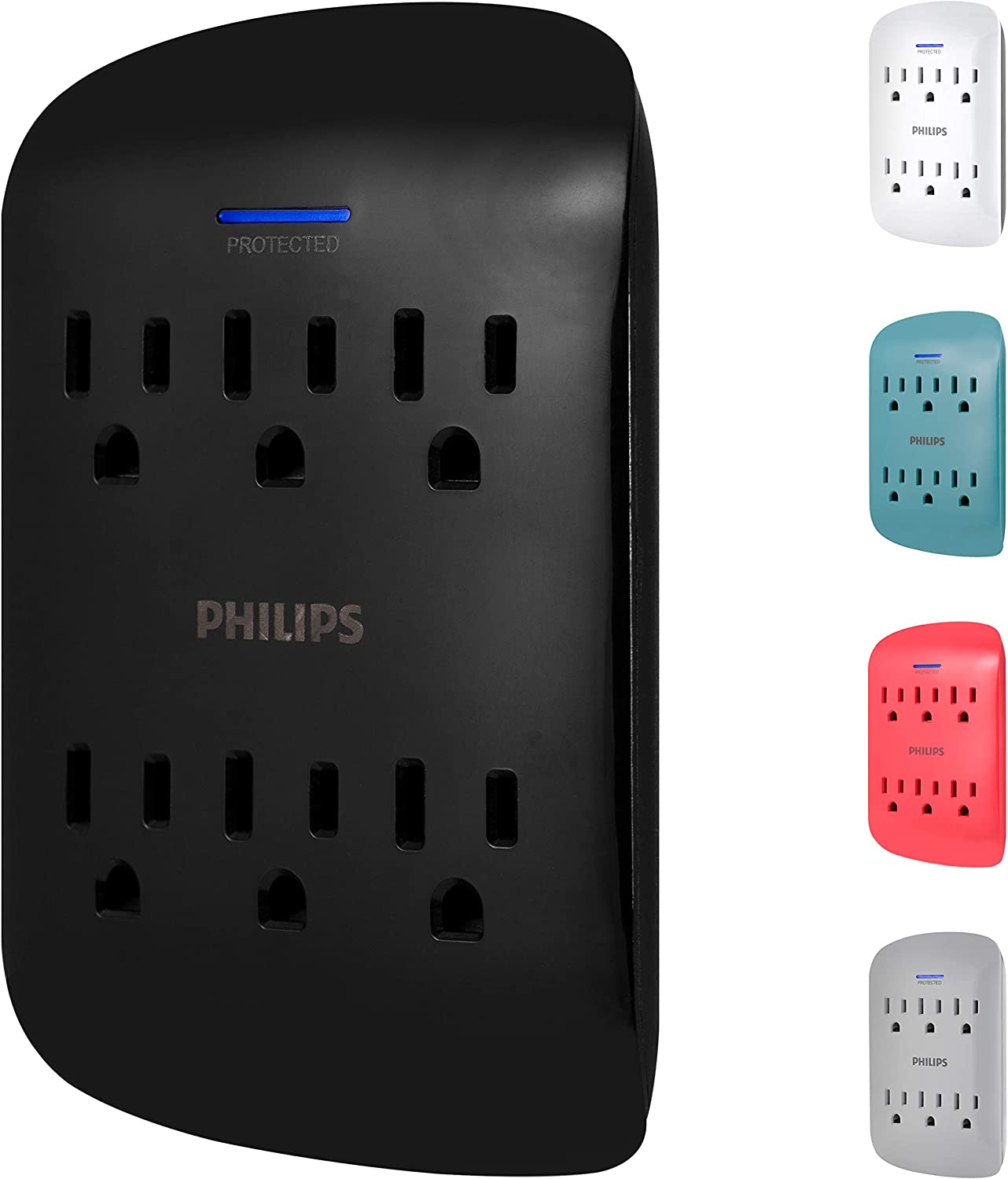 PHILIPS 6-Outlet Surge Protector Tap, 900 Joules, 3-Prong, Space Saving Design, Protection Indicator LED Light, Black, SPP3461BC/37