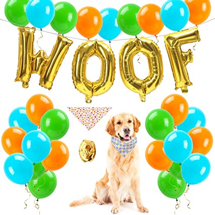 FATPET Dog Birthday Decorations Party Supplies Puppy WOOF Balloons30 Latex