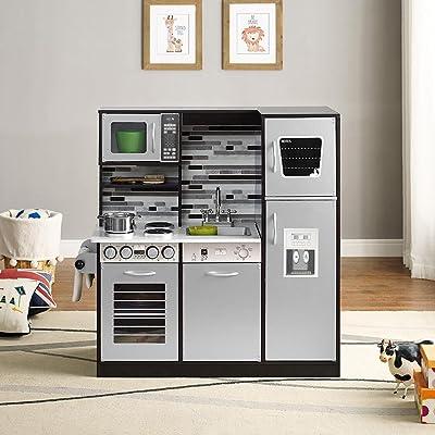 Naomi Home Play Kitchen Set, Realistic Pretend Play Kids Kitchen Espresso: Toys & Games