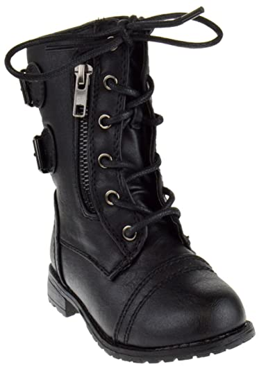 Amazon.com | Link Mango-61Ka Baby Girls Combat Lace Up Boots Black ...