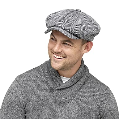 Mens Winter Baker Boy Flat cap with Thinsulate thermal lining Herringbone  grey (M L 3f6ce215eab