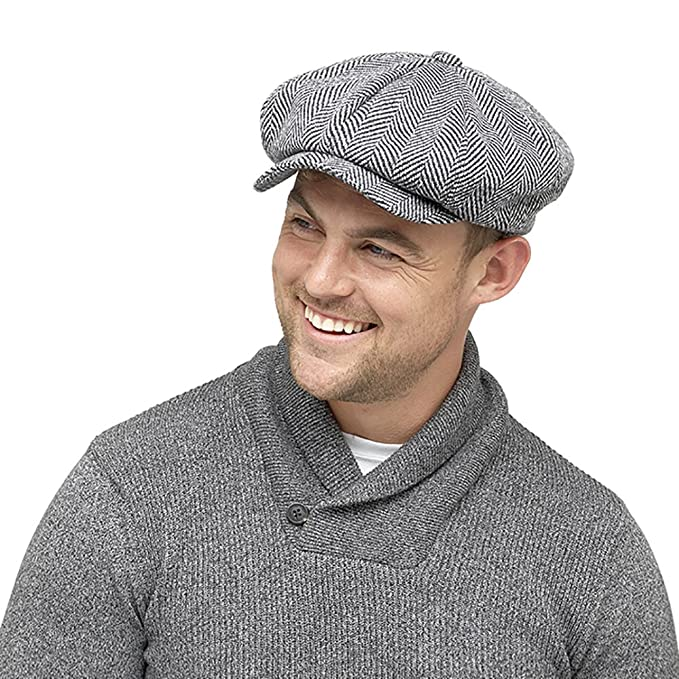 cd9aae2911cd9 HeatGuard Mens Winter Baker Boy Flat Cap With Thinsulate Thermal Lining  Herringbone Grey  Amazon.co.uk  Clothing