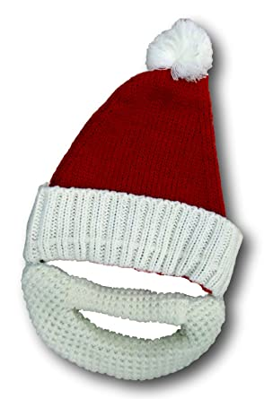 fc65461601f Father Christmas Santa Claus Knitted Beanie Beard Ski Pom Pom Hat   Amazon.co.uk  Clothing