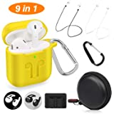 Cuauco 2019 Newest Airpods Case for Airpods 2 and 1 (Front LED Visible) with 2 Anti-Lost Strap/2 Pairs of Ear Hooks/2 Carabiner/1 Watch Band Holder/1 Headphone Case for Apple Airpods(9 Pack)(Yellow)