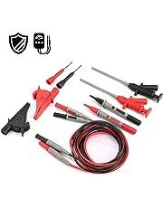 AIDBUCKS Multímetro Digital profesional conjunto de cables multifunción para multímetro con cables de extensión,sondas de prueba,Clips de resorte tipo, Clip de cocodrilo 10-in-1 Kit