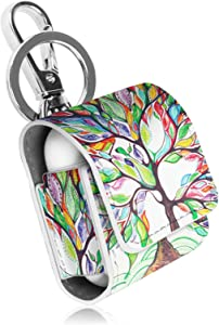 Fintie Case for AirPods, Premium PU Leather Magnet Closure Protective Portable Cover Skin with Metal Clasp and Keychain for AirPods 1 and AirPods 2 Charging Case, not fits Airpods Pro, Love Tree