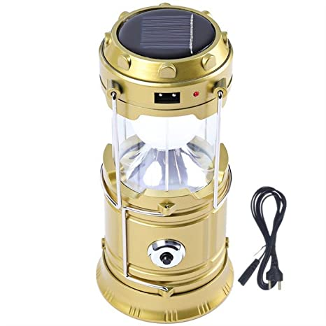 7Clouds 6 +1 LED Solar Power Camping Lantern Light Rechargeable Collapsible Night Light Outdoor Travel Hiking Flashlight