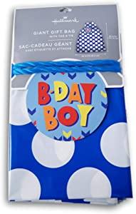 Baby Shower Oversize Plastic Bag with Gift Tag - Blue Polka Dots - 36 x 56 Inches