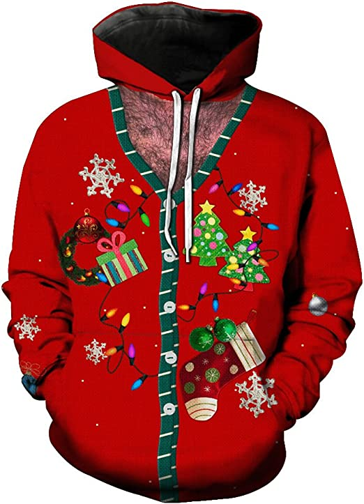 Christmas Printing Series Mens Open-Tops and Hat Guards Fashion Mens Fashion Sportswear with Hats in Europe and America