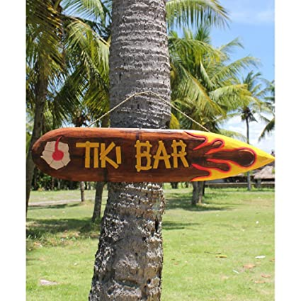Fair-trade Surf Tiki tabla de Wiki pintado a mano con texto en inglés