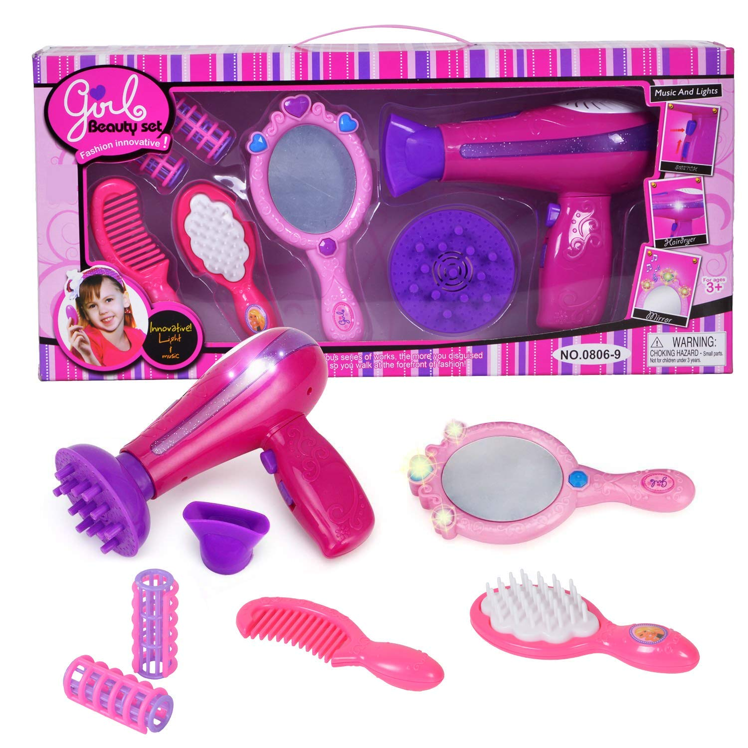Bettina Vogue Beauty Hair Salon Fashion Pretend Play Set with Hairdryer, Mirror, Styling Accessories by Bettina