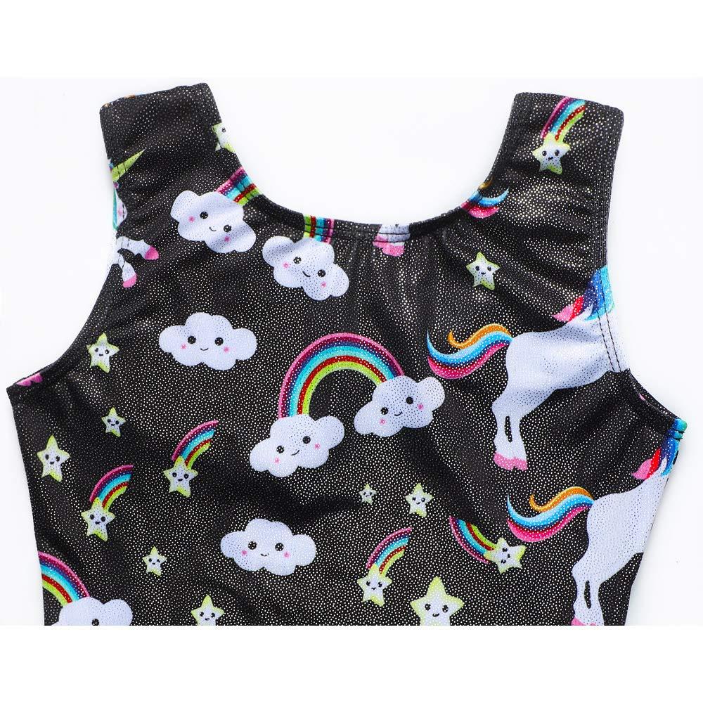 DAXIANG Unicorn Leotards for Girls Gymnastics Biketards Sparkle Unicorn Black and Blue