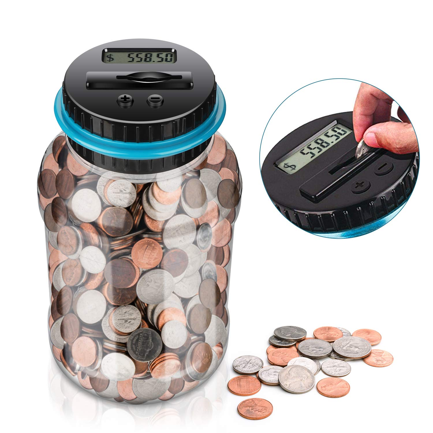 Piggy Bank,Amago Coin Bank ,Big Piggy Bank Digital Counting Coin Bank for Kids Adult Boy Girl as Gift,Powered by 2AAA Battery (Not Included) by Amago