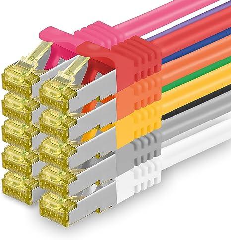 1aTTack.de Cavo di Rete Ethernet LAN Cat.7 SFTP Spina RJ45 Cat6a Doppia schermatura 10000 Mbit//s Compatibile con Cat5 Cat6 Cat6a Cat8 per Switch Router Modem Patchpanel Nero 5 pz 0,5m