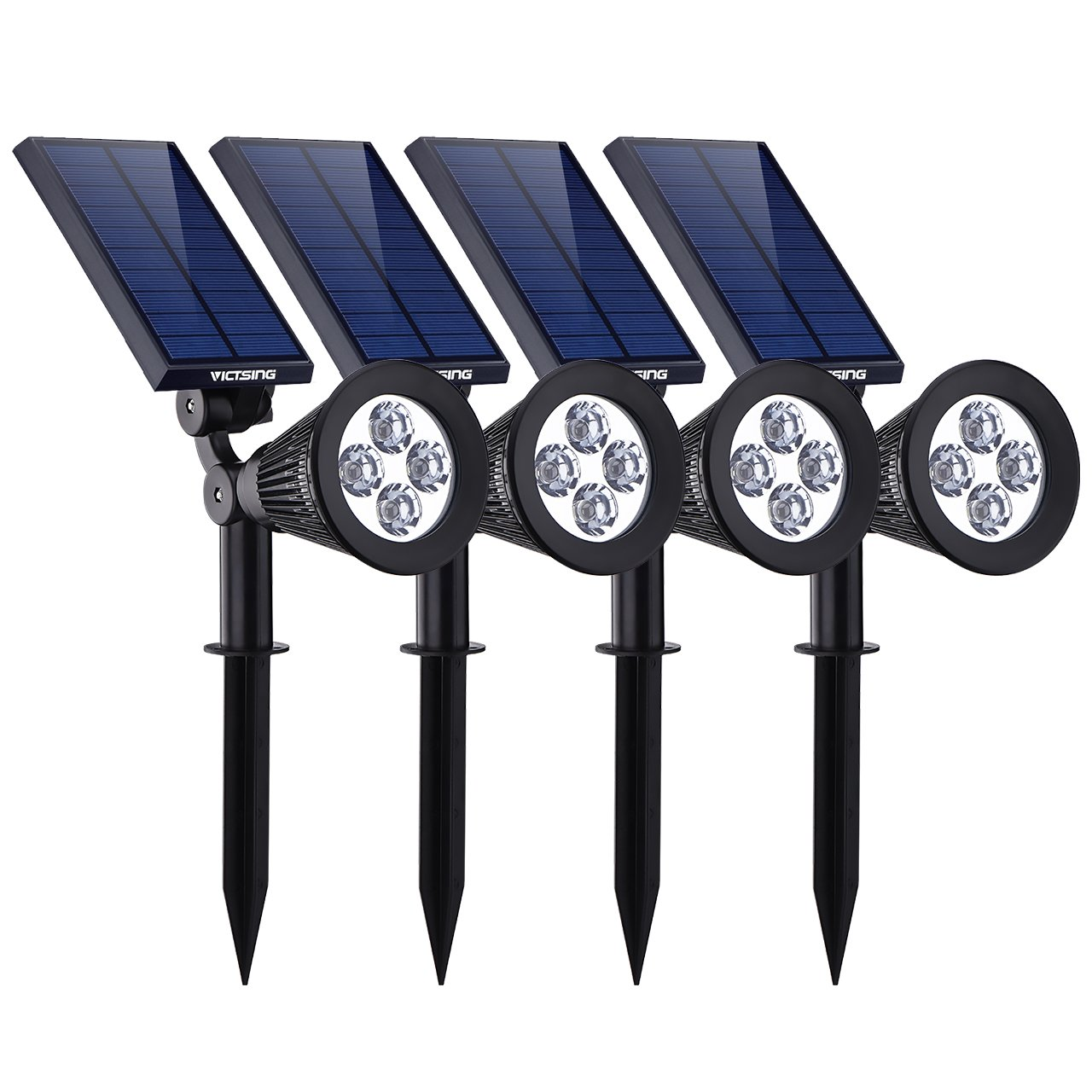 VicTsing 4 Pack Solar Spotlights,The Third Generation 2-in-1 Waterproof Adjustable 4 LED Wall / Landscape Solar Lights with Automatic On/Off Sensor for Driveway, Yard, Lawn, Pathway, Garden by VicTsing