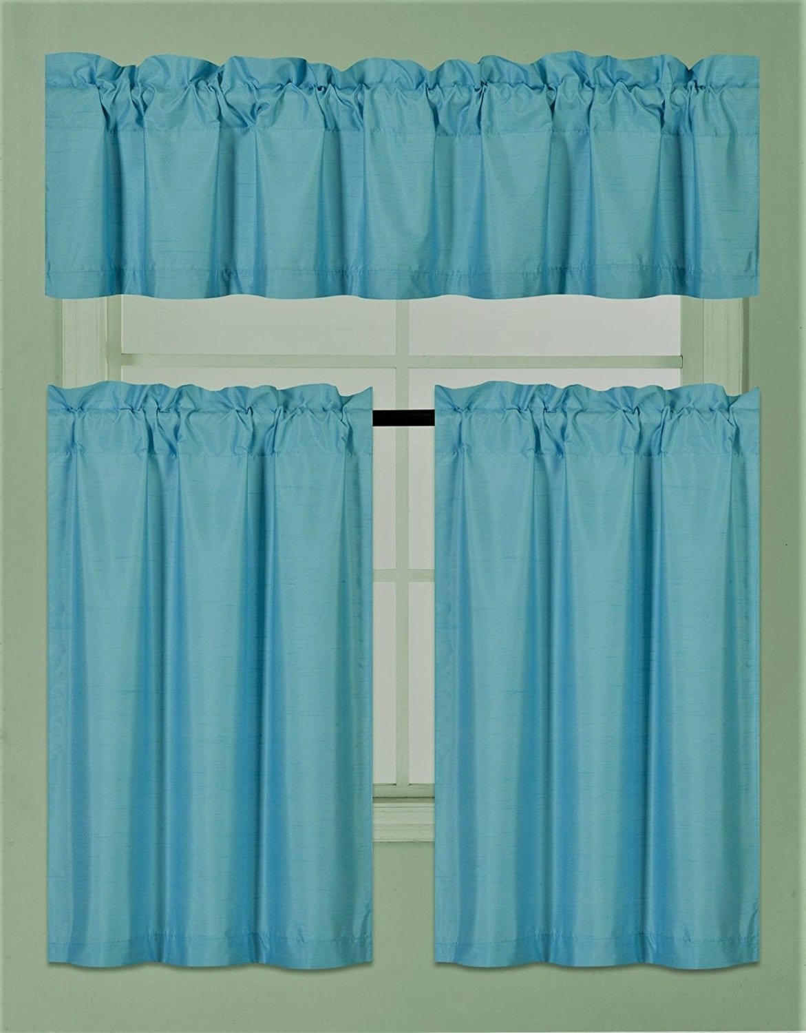 Elegant Home Collection 3 Piece Solid Color Faux Silk Blackout Kitchen Window Curtain Set with Tiers and Valance Solid Color Lined Thermal Blackout Drape Window Treatment Set #K3 (Turquoise)