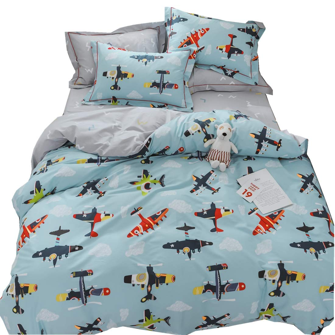 LAYENJOY Airplane Cartoon Duvet Cover Set Twin Size Flying Sky Clouds 100% Cotton Bedding Set for Kids Teens Boys Girls Reversible Blue Gray Comforter Cover, No Comforter