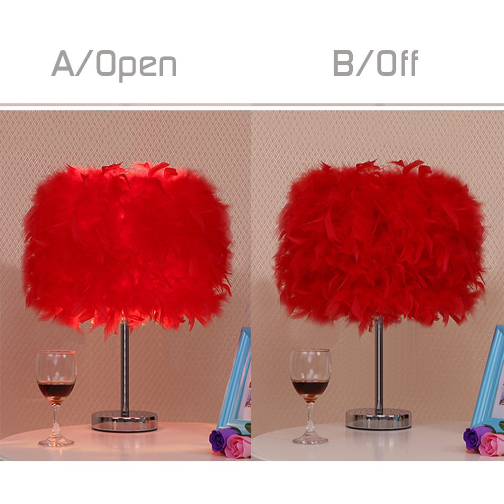 Feather Table Lamps Living Room Modern Bedside Table Light Bedroom Desk Night Light Lampshade Wedding Room White 15*35cm ZhongYeYuanDianZiKeJi