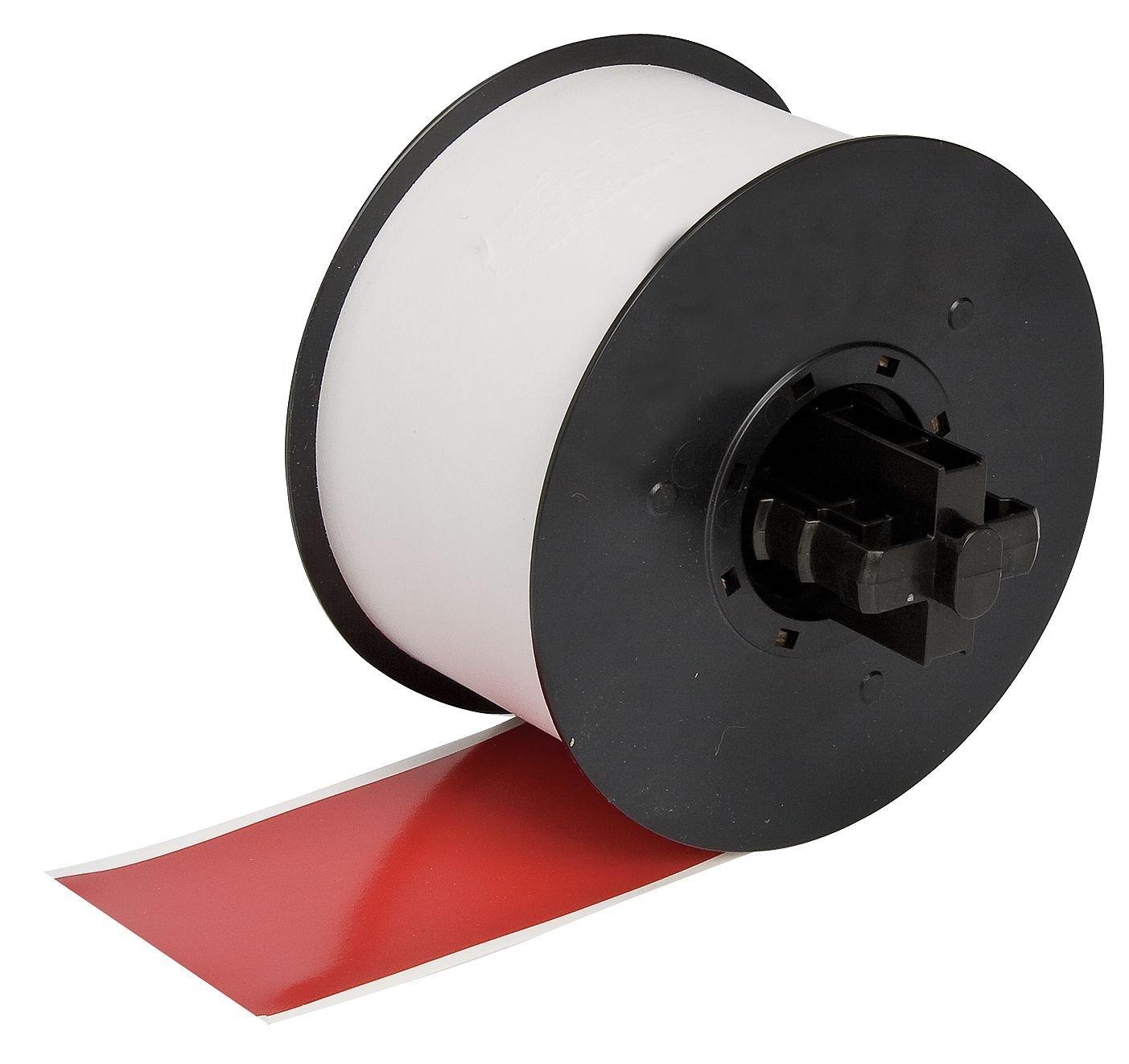 Red 0.500 x 100/' 0.500 x 100 Vinyl Film with Permanent Adhesive Brady 113199 Label