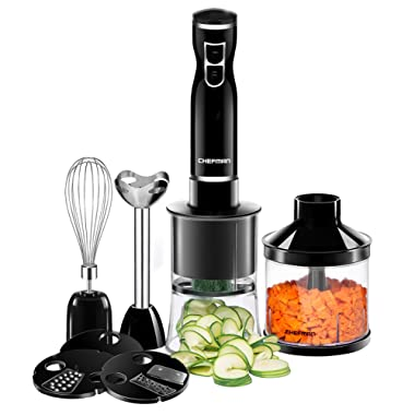 Chefman Immersion Blender & Electric Spiralizer/Vegetable Slicer 6-IN-1 Food Prep Kit, Includes 3 Spiralizing Blade Attachments, Zoodle Maker; Grate, Ribbon, Spiral, Chop, Whisk and Puree