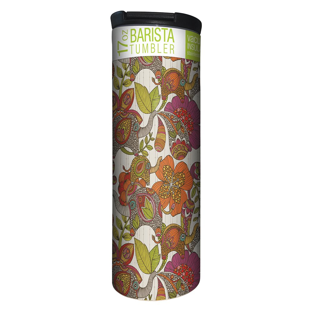 Tree-Free Greetings Elephant and Flower Pattern Vacuum Insulated Travel Coffee Tumbler, 17 Ounce Stainless Steel, Gift for Animal Lovers (BT21954)