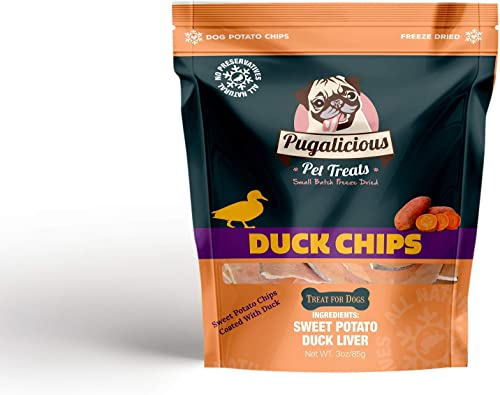 Duck Chips 3oz 85g , Sweet Potato Chips Coated in Duck, Freeze Dried for Dogs