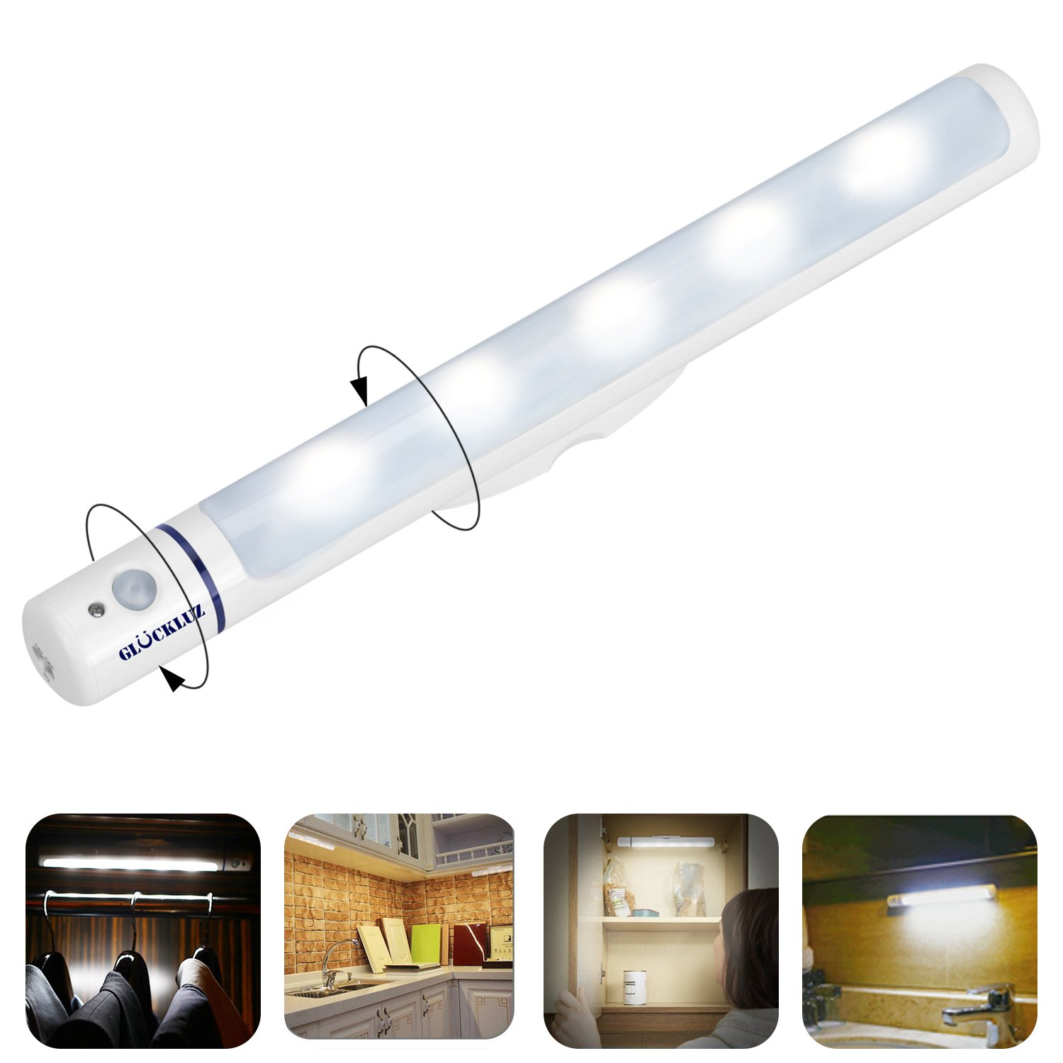 Glückluz Super Bright Detachable 180° Rotative Motion Sensor LED Night Cabinet Lights Flashlight Emergency Lighting All in One Auto On/Off for Bathroom, Wall, Kitchen, Bedroom, Closet (Cool White)