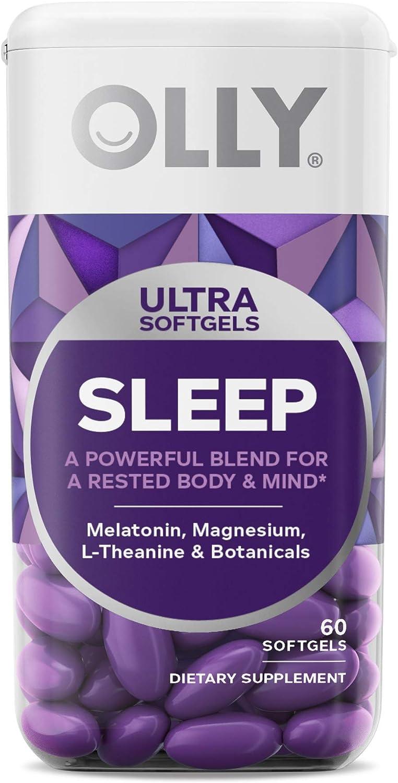 OLLY Ultra Sleep Softgels, 6 mg Melatonin, Supports Deep Restful Sleep, Magnesium, L-Theanine, Chamomile, and Lemon Balm, Nighttime Sleep Aid, Non Habit-Forming - 60 Count